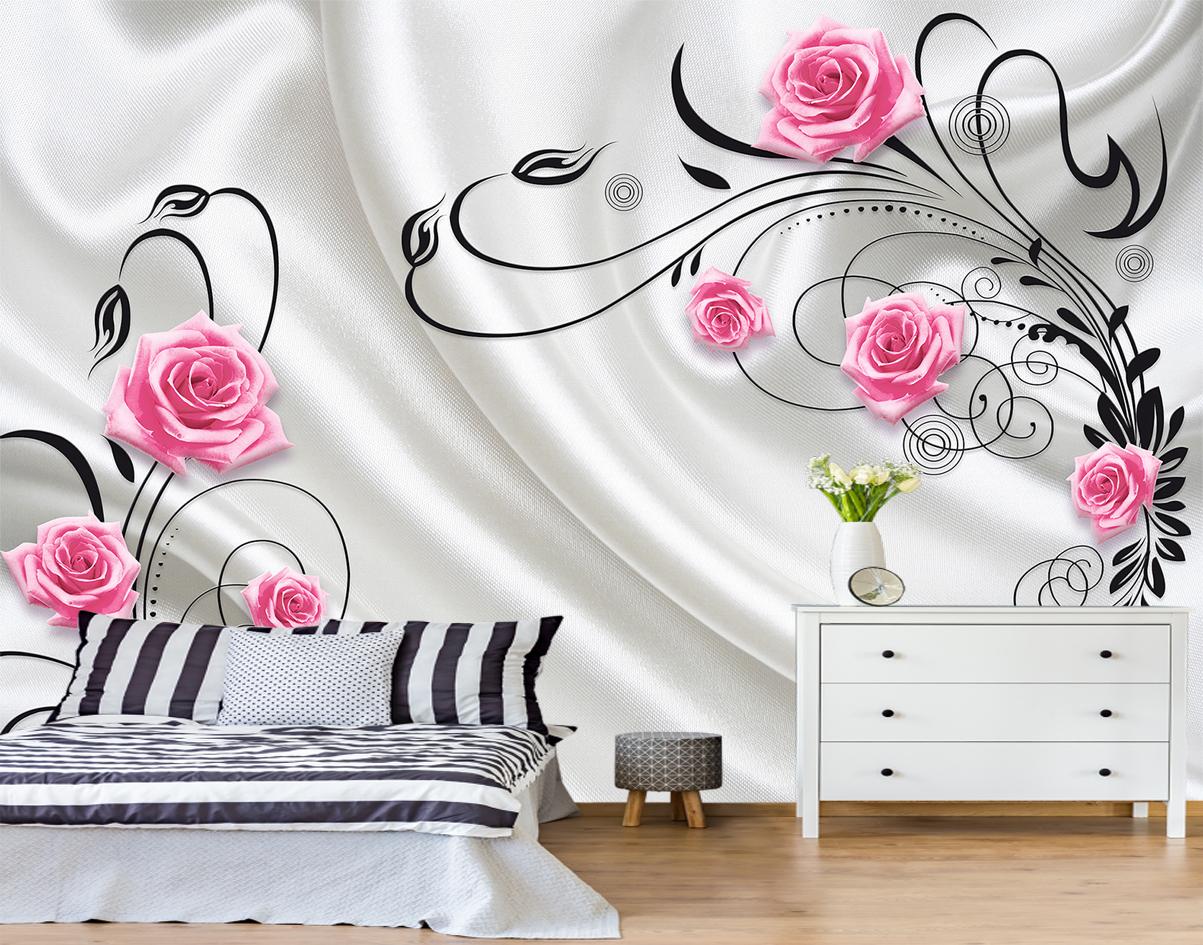 обои розы в интерьере спальни фото